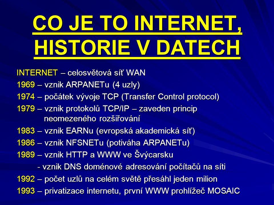 CO JE TO INTERNET, HISTORIE V DATECH INTERNET – celosvětová síť WAN 1969 – vznik ARPANETu (4 uzly) 1974 – počátek vývoje TCP (Transfer Control protoco