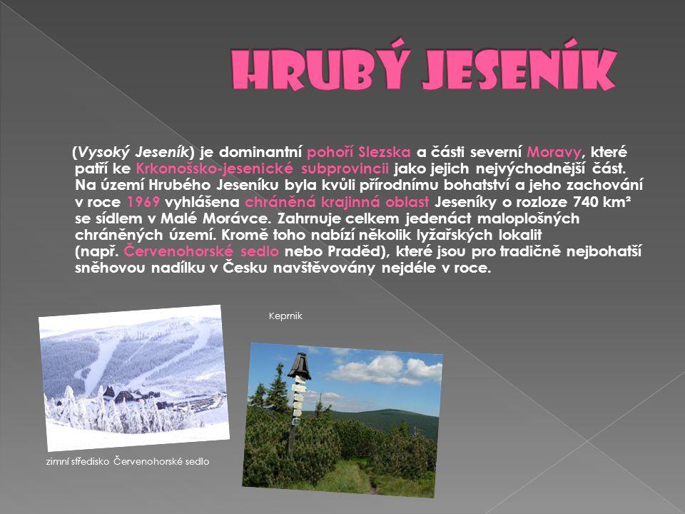 ( Vysoký Jeseník ) je dominantní pohoří Slezska a části severní Moravy, které patří ke Krkonošsko-jesenické subprovincii jako jejich nejvýchodnější čá