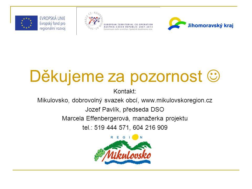 Děkujeme za pozornost Kontakt: Mikulovsko, dobrovolný svazek obcí, www.mikulovskoregion.cz Jozef Pavlík, předseda DSO Marcela Effenbergerová, manažerka projektu tel.: 519 444 571, 604 216 909