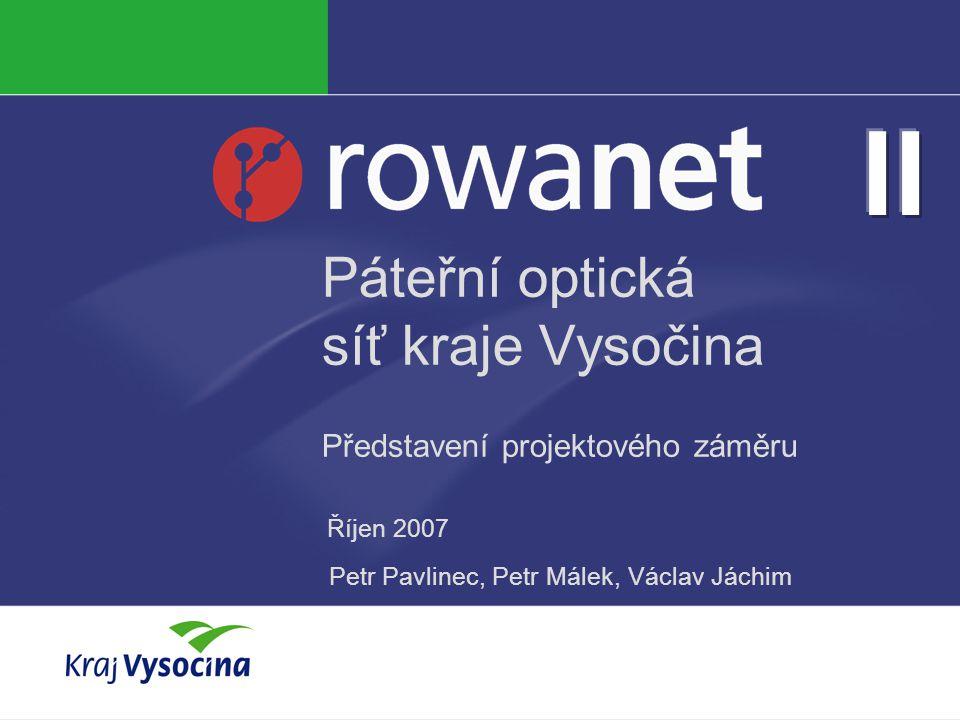 Páteřní optická síť kraje Vysočina Představení projektového záměru Říjen 2007 Petr Pavlinec, Petr Málek, Václav Jáchim