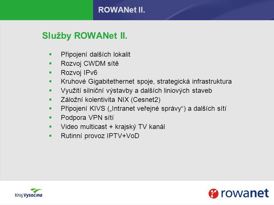 ROWANet II. Služby ROWANet II.  Připojení dalších lokalit  Rozvoj CWDM sítě  Rozvoj IPv6  Kruhové Gigabitethernet spoje, strategická infrastruktur