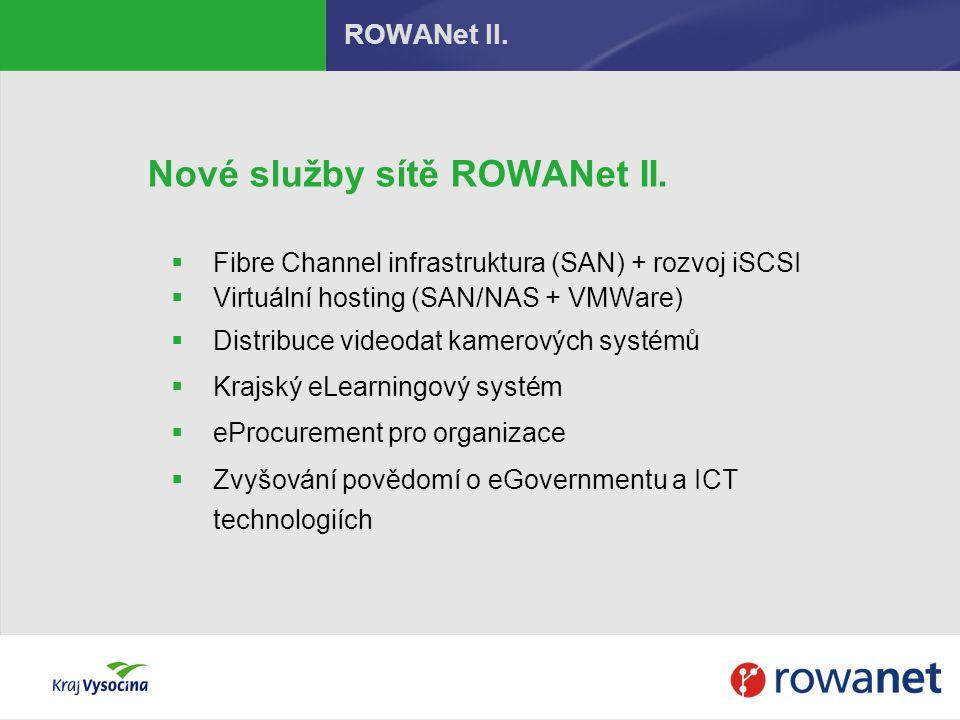 Nové služby sítě ROWANet II.  Fibre Channel infrastruktura (SAN) + rozvoj iSCSI  Virtuální hosting (SAN/NAS + VMWare)  Distribuce videodat kamerový