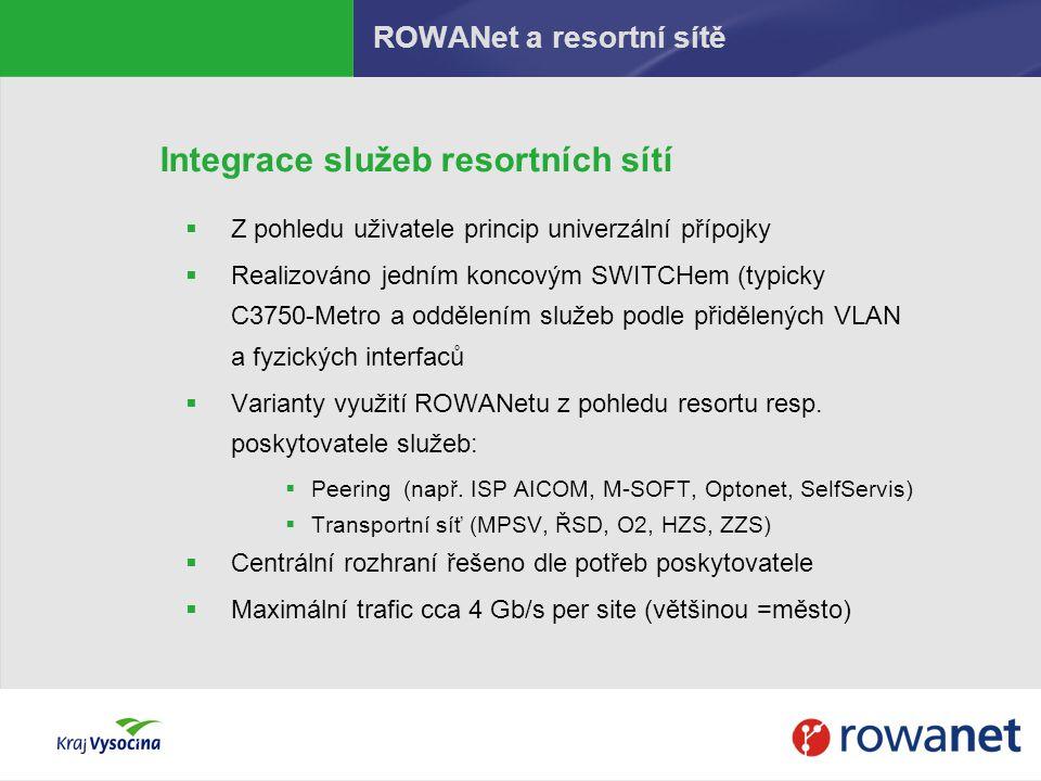 Integrace služeb resortních sítí  Z pohledu uživatele princip univerzální přípojky  Realizováno jedním koncovým SWITCHem (typicky C3750-Metro a oddě