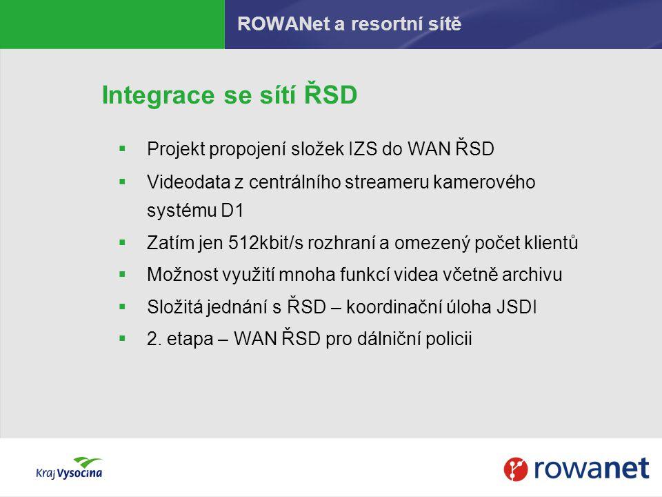 Integrace se sítí ŘSD  Projekt propojení složek IZS do WAN ŘSD  Videodata z centrálního streameru kamerového systému D1  Zatím jen 512kbit/s rozhra