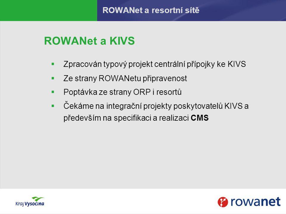 ROWANet a KIVS  Zpracován typový projekt centrální přípojky ke KIVS  Ze strany ROWANetu připravenost  Poptávka ze strany ORP i resortů  Čekáme na