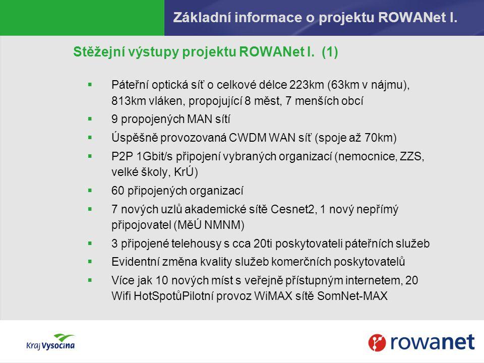 Základní informace o projektu ROWANet I. Stěžejní výstupy projektu ROWANet I. (1)  Páteřní optická síť o celkové délce 223km (63km v nájmu), 813km vl