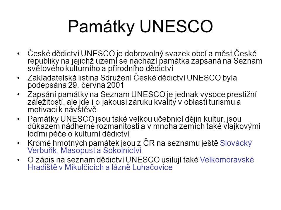 Památky UNESCO České dědictví UNESCO je dobrovolný svazek obcí a měst České republiky na jejichž území se nachází památka zapsaná na Seznam světového kulturního a přírodního dědictví Zakladatelská listina Sdružení České dědictví UNESCO byla podepsána 29.