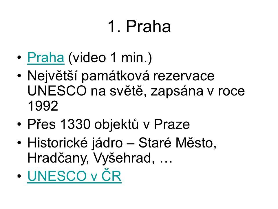 1. Praha Praha (video 1 min.)Praha Největší památková rezervace UNESCO na světě, zapsána v roce 1992 Přes 1330 objektů v Praze Historické jádro – Star