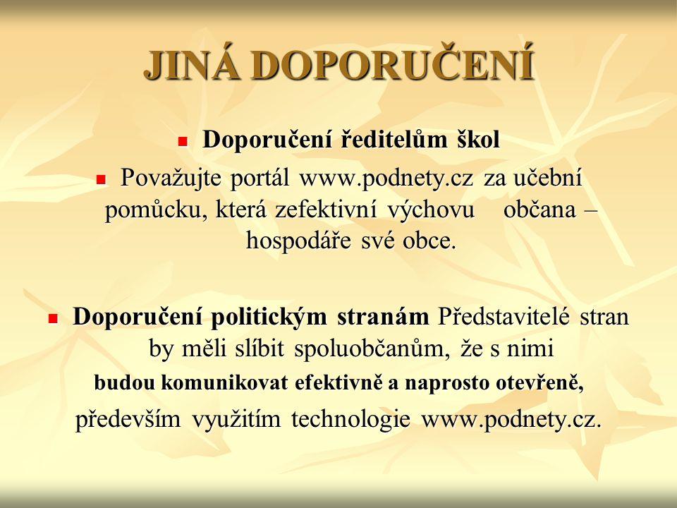 JINÁ DOPORUČENÍ Doporučení ředitelům škol Doporučení ředitelům škol Považujte portál www.podnety.cz za učební pomůcku, která zefektivní výchovu občana – hospodáře své obce.