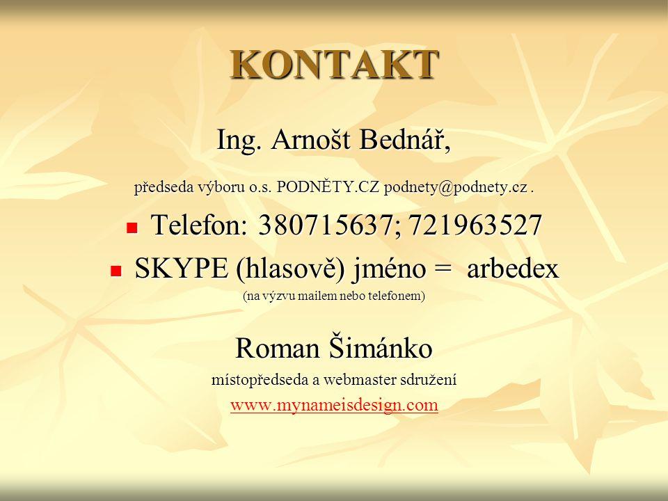 KONTAKT Ing. Arnošt Bednář, předseda výboru o.s. PODNĚTY.CZ podnety@podnety.cz.