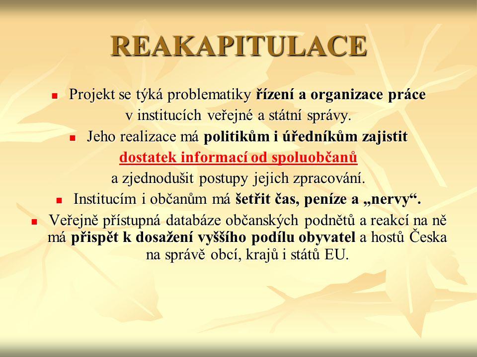 REAKAPITULACE Projekt se týká problematiky řízení a organizace práce Projekt se týká problematiky řízení a organizace práce v institucích veřejné a státní správy.