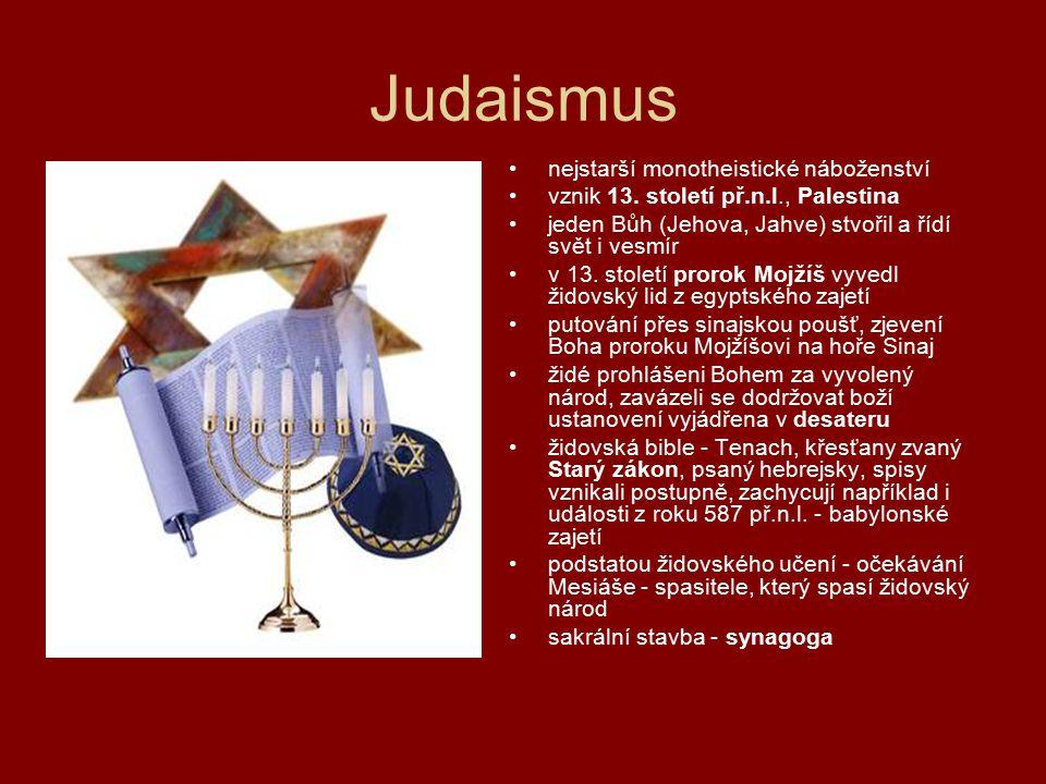 Judaismus nejstarší monotheistické náboženství vznik 13. století př.n.l., Palestina jeden Bůh (Jehova, Jahve) stvořil a řídí svět i vesmír v 13. stole
