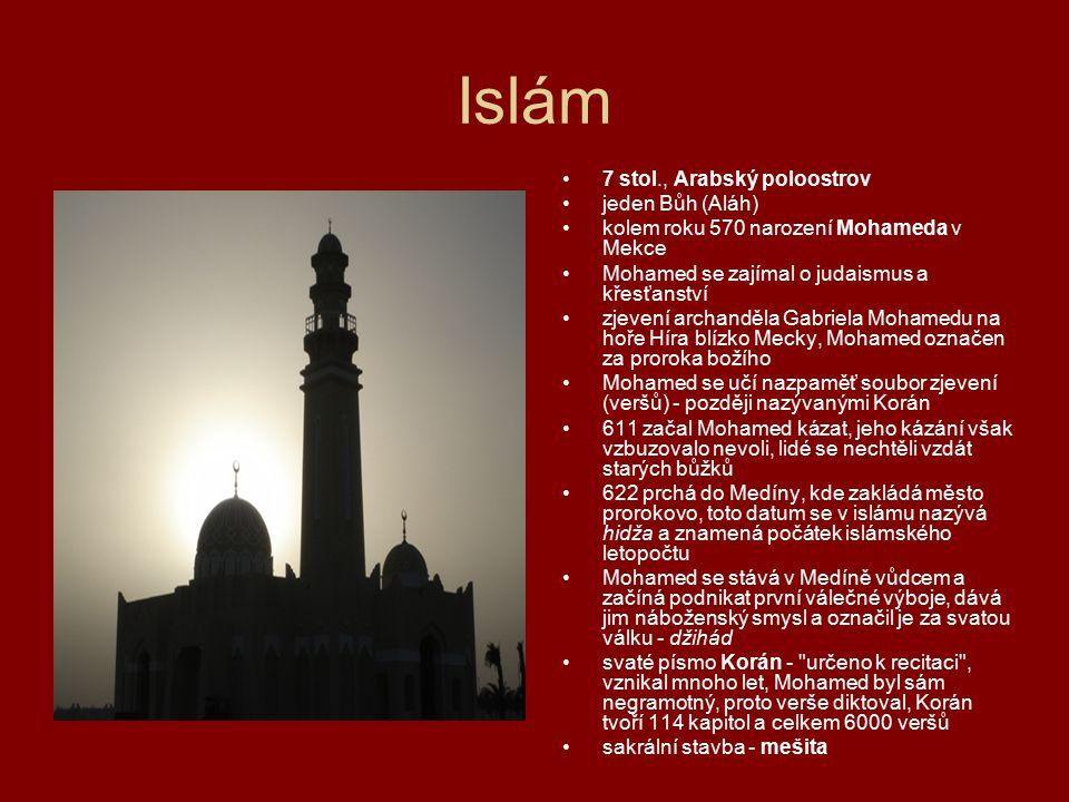 Islám 7 stol., Arabský poloostrov jeden Bůh (Aláh) kolem roku 570 narození Mohameda v Mekce Mohamed se zajímal o judaismus a křesťanství zjevení archa