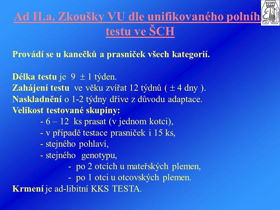 Ad II. Zkoušky vlastní užitkovosti prasat - je možno provádět třemi metodami: a) unifikovaným polním testem ve šlechtitelských chovech (ŠCH), b) zákla