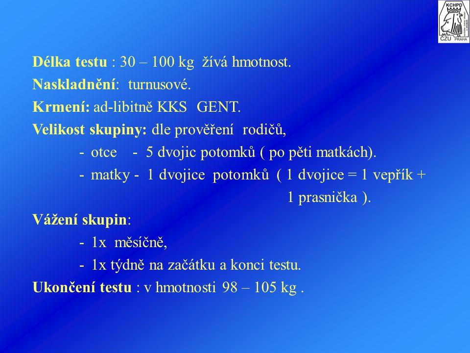 Ad II.c.1. Zkoušky VJH čistokrevného potomstva Testují se selata pocházející:  z prvních vrhů,  odpovídajícího vývinu ( v hmotnosti 20-28 kg a věku