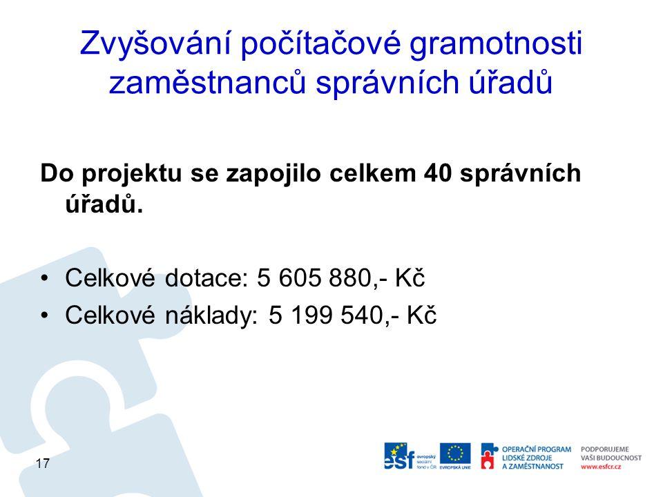 Zvyšování počítačové gramotnosti zaměstnanců správních úřadů Do projektu se zapojilo celkem 40 správních úřadů.