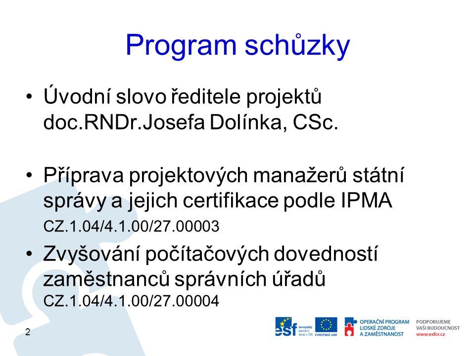 Program schůzky Úvodní slovo ředitele projektů doc.RNDr.Josefa Dolínka, CSc.