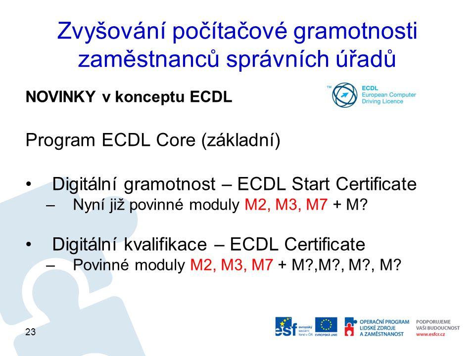 Zvyšování počítačové gramotnosti zaměstnanců správních úřadů NOVINKY v konceptu ECDL Program ECDL Core (základní) Digitální gramotnost – ECDL Start Certificate –Nyní již povinné moduly M2, M3, M7 + M.