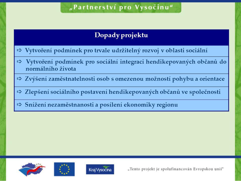 Dopady projektu  Vytvoření podmínek pro trvale udržitelný rozvoj v oblasti sociální  Vytvoření podmínek pro sociální integraci hendikepovaných občan