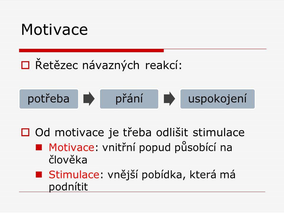 Motivace  Řetězec návazných reakcí:  Od motivace je třeba odlišit stimulace Motivace: vnitřní popud působící na člověka Stimulace: vnější pobídka, k