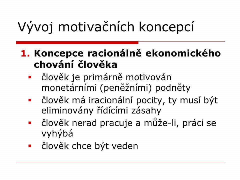 Vývoj motivačních koncepcí 1.Koncepce racionálně ekonomického chování člověka  člověk je primárně motivován monetárními (peněžními) podněty  člověk