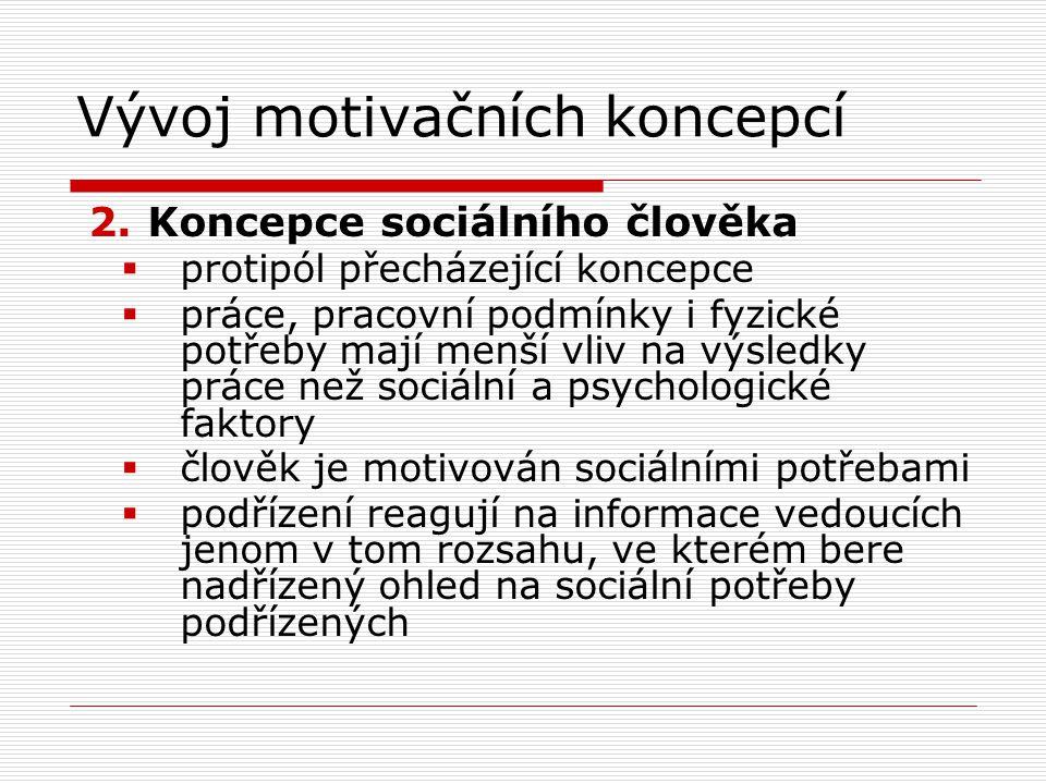 Vývoj motivačních koncepcí 3.Koncepce realizujícího se člověka  jednání ovlivňuje řada potřeb, uspořádat hierarchicky (Maslowova pyramida)  fyzické a duševní úsilí související s prací je přirozené  vnější kontrola a pohrůžka trestu nejsou jedinými prostředky ke splnění cílů  člověk se naučí přijímat odpovědnost  intelektuální schopnosti pracovníků jsou využity pouze částečně