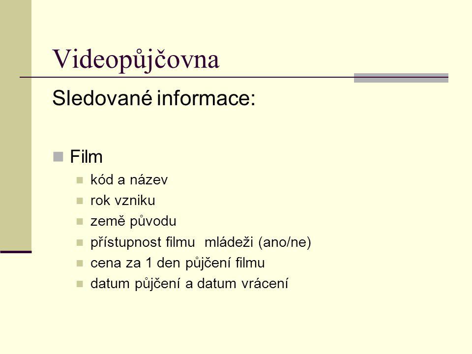 Videopůjčovna Sledované informace: Film kód a název rok vzniku země původu přístupnost filmu mládeži (ano/ne) cena za 1 den půjčení filmu datum půjčen