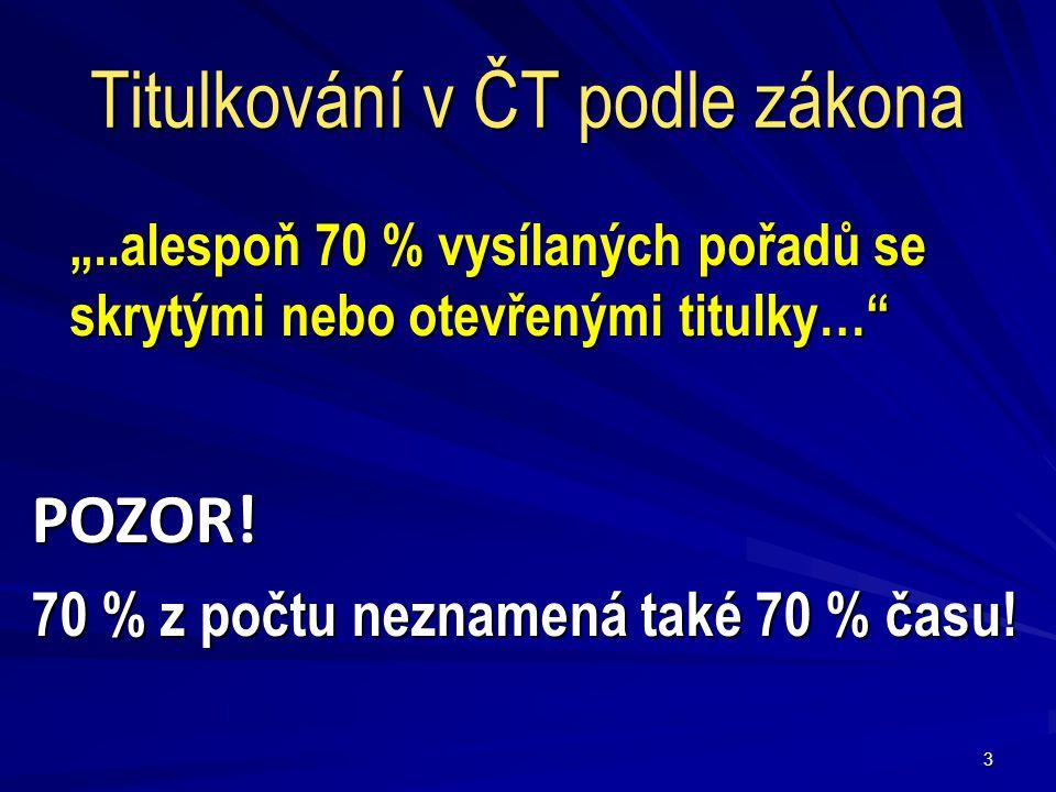"""3 Titulkování v ČT podle zákona """"..alespoň 70 % vysílaných pořadů se skrytými nebo otevřenými titulky… POZOR."""