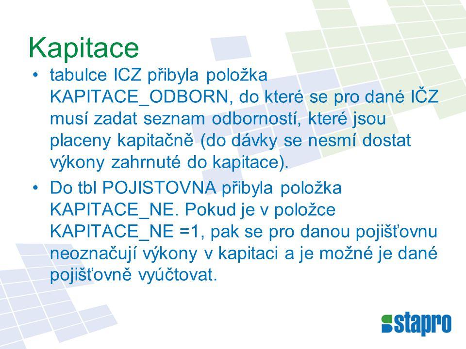 Kapitace tabulce ICZ přibyla položka KAPITACE_ODBORN, do které se pro dané IČZ musí zadat seznam odborností, které jsou placeny kapitačně (do dávky se nesmí dostat výkony zahrnuté do kapitace).