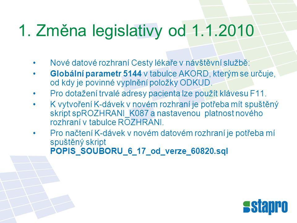 1. Změna legislativy od 1.1.2010 Nové datové rozhraní Cesty lékaře v návštěvní službě: Globální parametr 5144 v tabulce AKORD, kterým se určuje, od kd