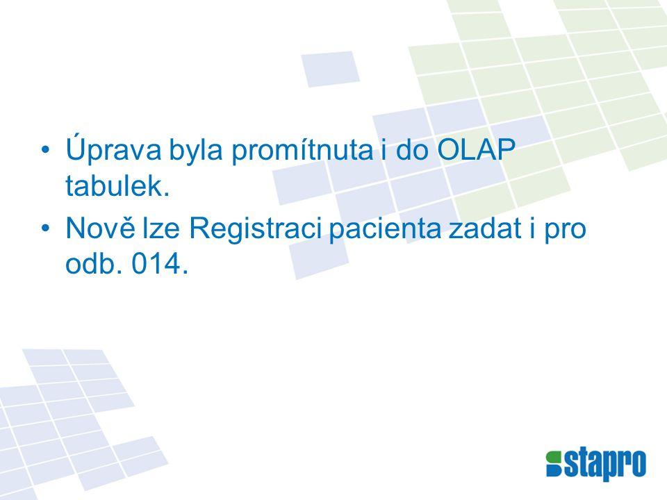 Úprava byla promítnuta i do OLAP tabulek. Nově lze Registraci pacienta zadat i pro odb. 014.