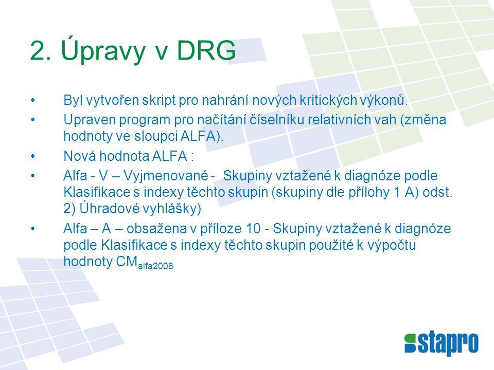 2. Úpravy v DRG Byl vytvořen skript pro nahrání nových kritických výkonů. Upraven program pro načítání číselníku relativních vah (změna hodnoty ve slo