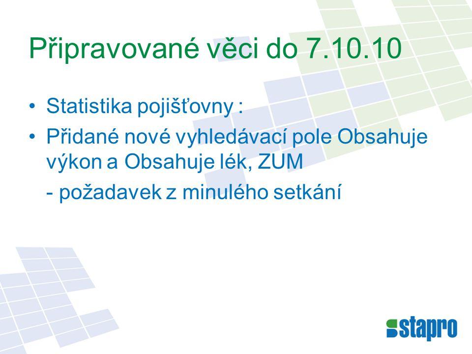 Připravované věci do 7.10.10 Statistika pojišťovny : Přidané nové vyhledávací pole Obsahuje výkon a Obsahuje lék, ZUM - požadavek z minulého setkání