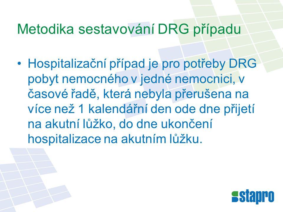 Metodika sestavování DRG případu Hospitalizační případ je pro potřeby DRG pobyt nemocného v jedné nemocnici, v časové řadě, která nebyla přerušena na více než 1 kalendářní den ode dne přijetí na akutní lůžko, do dne ukončení hospitalizace na akutním lůžku.