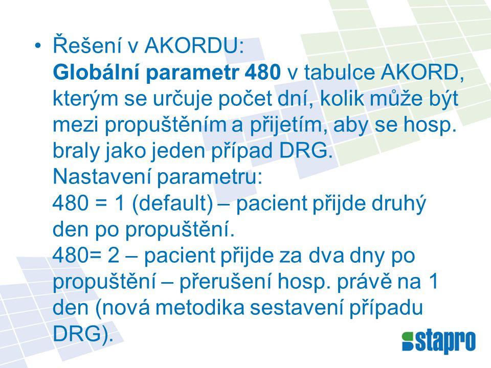Řešení v AKORDU: Globální parametr 480 v tabulce AKORD, kterým se určuje počet dní, kolik může být mezi propuštěním a přijetím, aby se hosp.