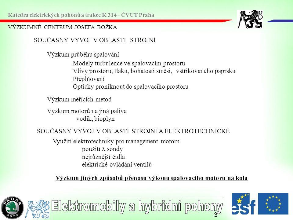 4 VÝZKUMNÉ CENTRUM JOSEFA BOŽKA Katedra elektrických pohonů a trakce K 314 - ČVUT Praha SOUČASNÝ VÝVOJ V OBLASTI ELEKTROTECHNICKÉ Výzkum elektromobilů různé typy elektrických strojů (stejnosměrné, asynchronní, synchronní, bezkartáčové, s příčným polem, krokové, s permanentními magnety ----) různý způsob ukládání elektrické energie různé baterie, superkondenzátor přímá výroba elektrické energie na vozidle palivové články Výzkum elektrického přenosu výkonu z válců