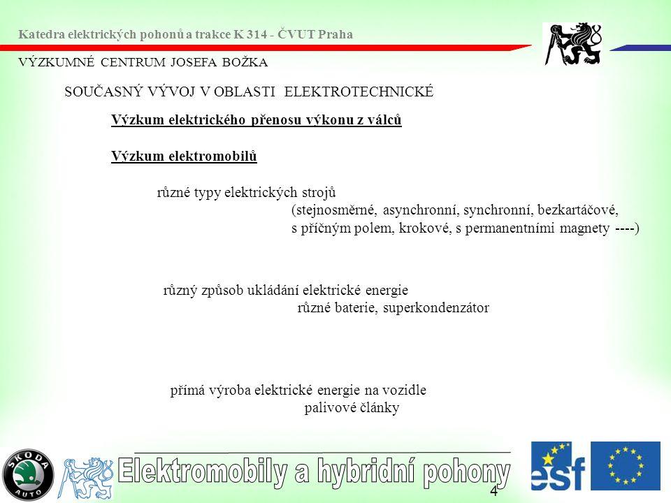 5 VÝZKUMNÉ CENTRUM JOSEFA BOŽKA Katedra elektrických pohonů a trakce K 314 - ČVUT Praha VLASTNOSTI ELEKTROMOBILŮ Typ elektromobiluS bateriíS palivovým článkem Trakční motorElektrický Nosič energieBateriePalivové články Zdroj energieElektrochemickýVodík Methanol Ethanol Požadavky na infrastrukturu Síť nabíjecích stanicSíť prodeje paliva VlastnostiŽádné emise Nezávislost na ropě Nízký akční rádius Vysoká cena Obchodně přístupný Téměř žádné emise Vysoká účinnost Nezávislost na ropě Vyhovující akční rádius Vysoká současná cena Stále ještě ve vývoji ProblémyBaterie a její management Doba nabíjení Hmotnost Nároky na prostor Výkon REKUPERACE Cena palivových článků Dynamika Řízení spalování Nároky na prostor Bezpečnost REKUPERACE