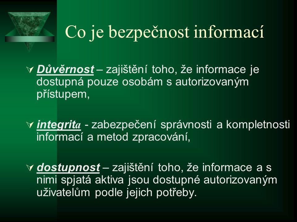 Co je bezpečnost informací  Důvěrnost – zajištění toho, že informace je dostupná pouze osobám s autorizovaným přístupem,  integrit a - zabezpečení správnosti a kompletnosti informací a metod zpracování,  dostupnost – zajištění toho, že informace a s nimi spjatá aktiva jsou dostupné autorizovaným uživatelům podle jejich potřeby.