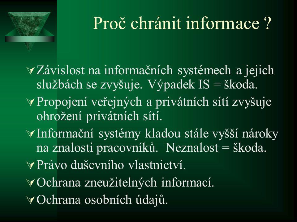Proč chránit informace .  Závislost na informačních systémech a jejich službách se zvyšuje.