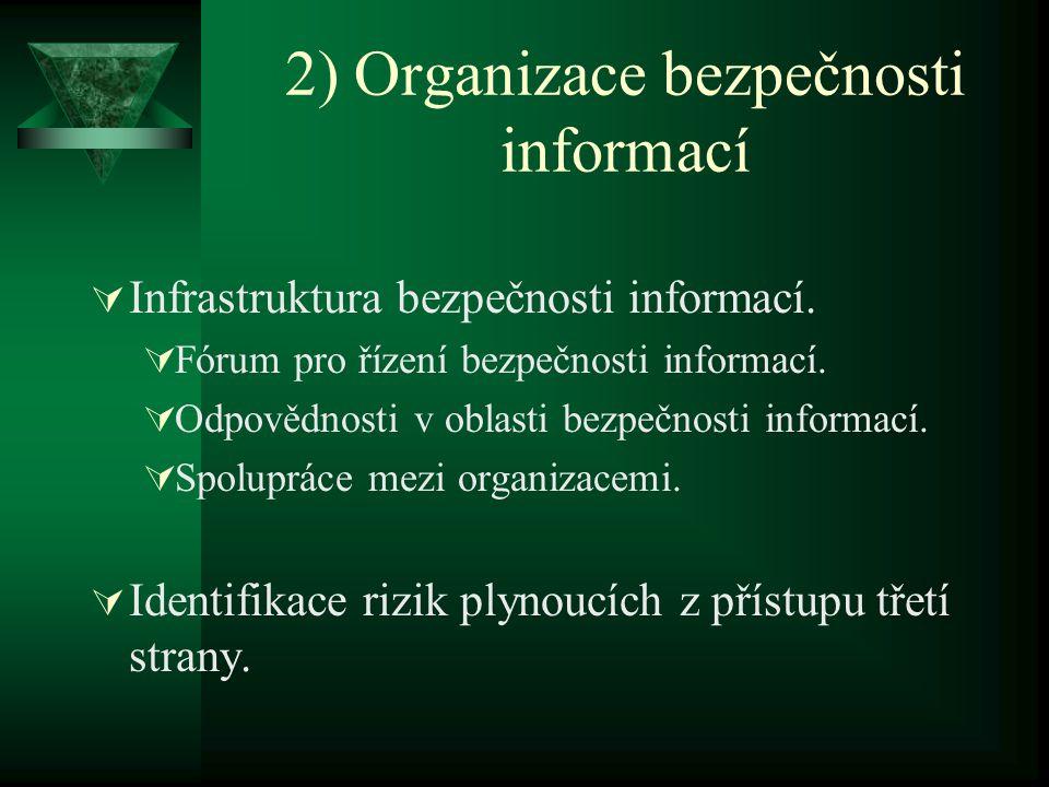 2) Organizace bezpečnosti informací  Infrastruktura bezpečnosti informací.