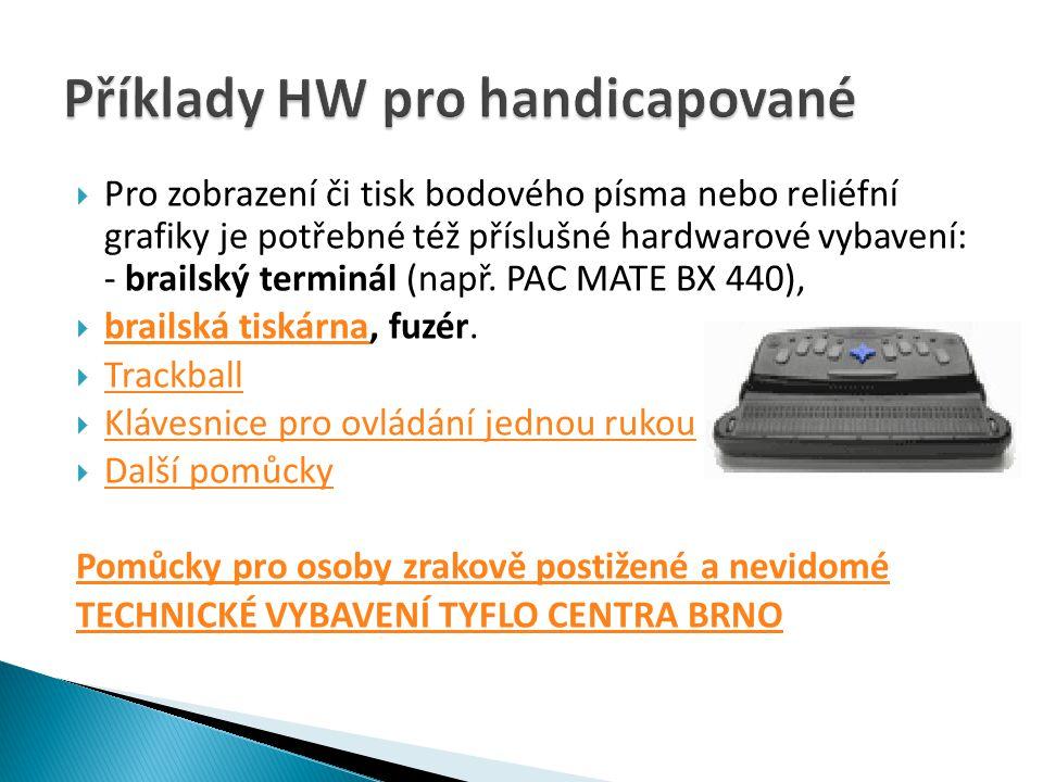  Pro zobrazení či tisk bodového písma nebo reliéfní grafiky je potřebné též příslušné hardwarové vybavení: - brailský terminál (např.