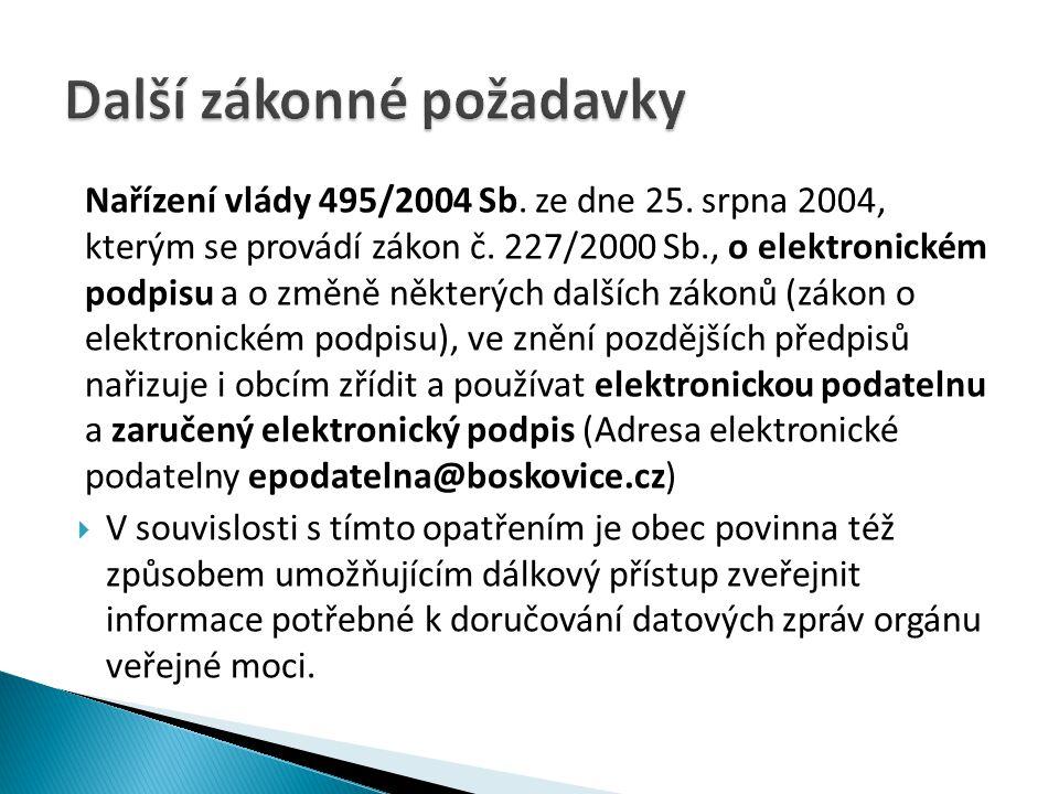 Nařízení vlády 495/2004 Sb.ze dne 25. srpna 2004, kterým se provádí zákon č.