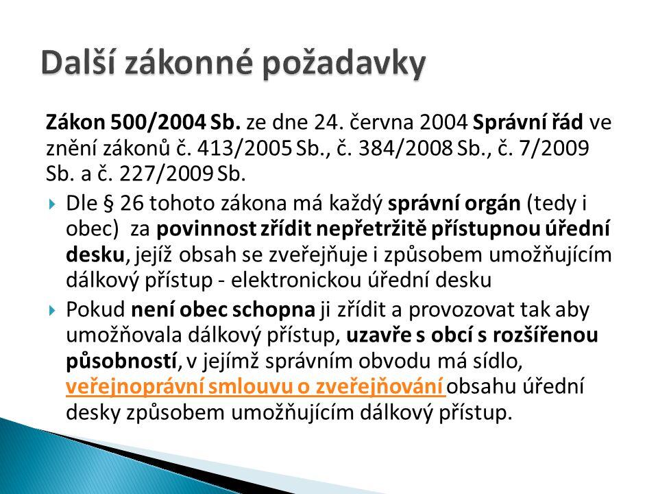 Zákon 500/2004 Sb.ze dne 24. června 2004 Správní řád ve znění zákonů č.