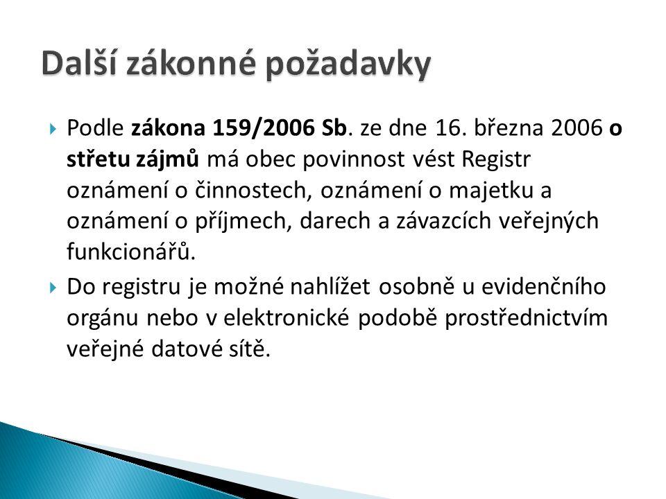  Podle zákona 159/2006 Sb. ze dne 16.