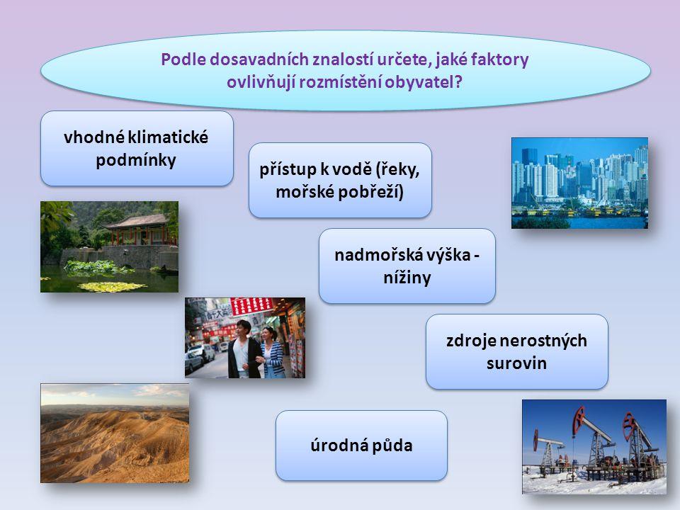 Podle dosavadních znalostí určete, jaké faktory ovlivňují rozmístění obyvatel.