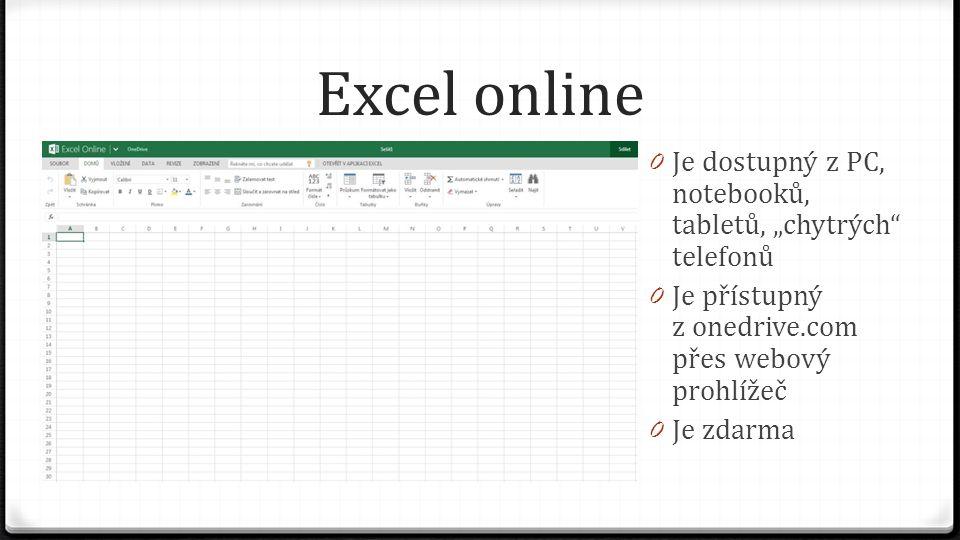 """Excel online 0 Je dostupný z PC, notebooků, tabletů, """"chytrých telefonů 0 Je přístupný z onedrive.com přes webový prohlížeč 0 Je zdarma"""