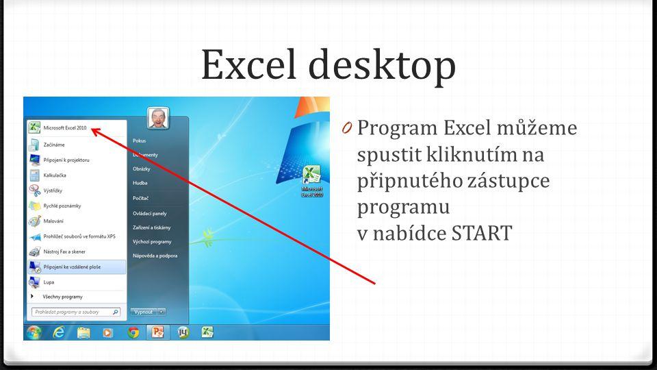 Excel desktop 0 Program Excel můžeme spustit kliknutím na připnutého zástupce programu v nabídce START