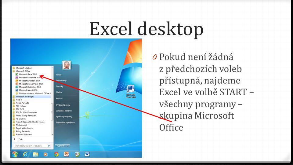 Excel desktop 0 Pokud není žádná z předchozích voleb přístupná, najdeme Excel ve volbě START – všechny programy – skupina Microsoft Office