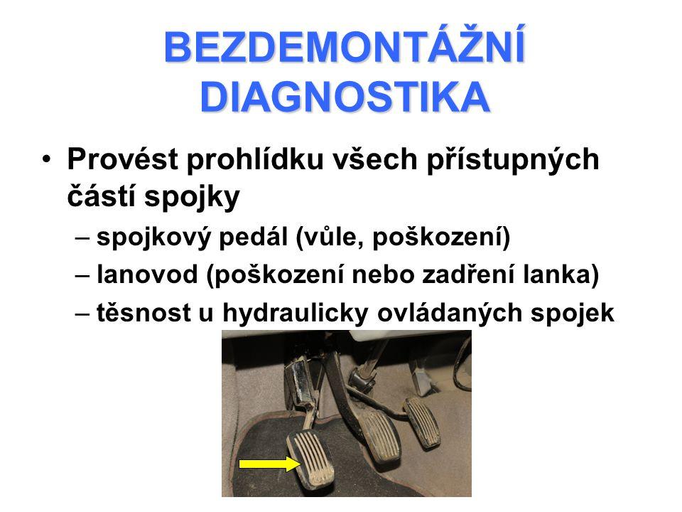 BEZDEMONTÁŽNÍ DIAGNOSTIKA Provést prohlídku všech přístupných částí spojky –spojkový pedál (vůle, poškození) –lanovod (poškození nebo zadření lanka) –těsnost u hydraulicky ovládaných spojek