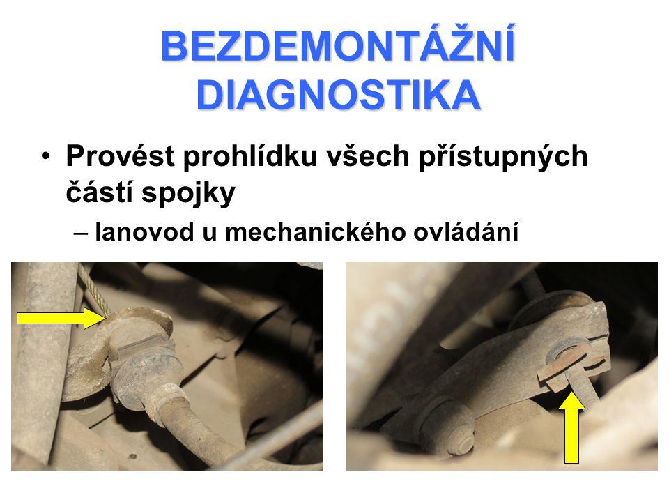 BEZDEMONTÁŽNÍ DIAGNOSTIKA Nastartovat motor Stisknout pedál spojky a zkusit zařadit rychlost Pokud rychlost nelze zařadit nebo je řazení provázeno hlukem ozubených kol – spojka nevystavuje (nevypíná) DIAGNOSTIKA VYSTAVOVÁNÍ SPOJKY